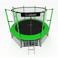 Большой уличный батут для взрослых - i-JUMP 16FT GREEN, защитный мат, сетка, лестница, фото 1